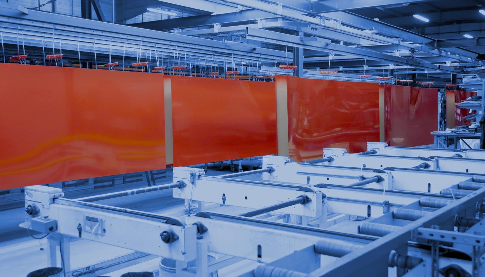 Tôles aluminium peintes en rouge