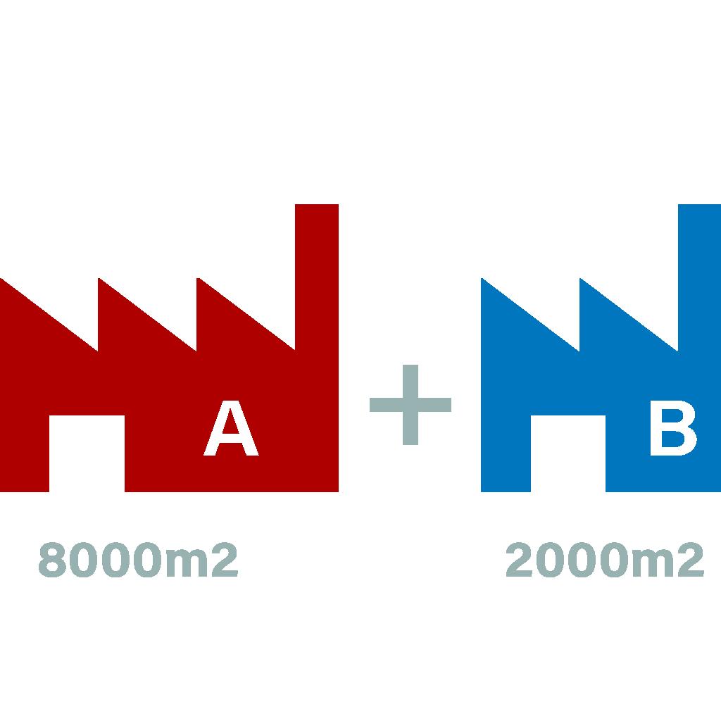 Deux bâtiments d'usine
